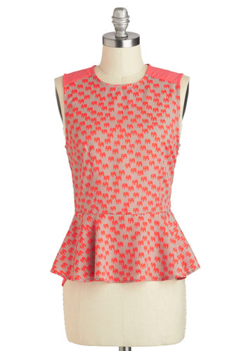 Elephant and Center Top - Mid-length, Coral, Tan / Cream, Print with Animals, Work, Peplum, Sleeveless, Novelty Print, Daytime Party, Crew
