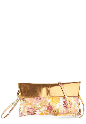 Champagne Or Shine Clutch - Gold, Multi, Solid, Floral, Cocktail