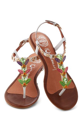 Who Could That Bee? Sandal by Jeffrey Campbell - White, Multi, Solid, Rhinestones, Flat, Leather, Beach/Resort, Summer, Print with Animals, Daytime Party, Quirky