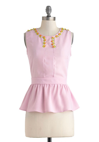 Jewel Have a Ball Top - Mid-length, Pink, Solid, Rhinestones, Work, Peplum, Sleeveless