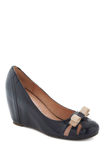 Cruising Altitude Wedge in Navy by Jeffrey Campbell - Blue, Tan / Cream, Solid, Bows, Wedge, Mid, Leather, Cutout, Work, Variation