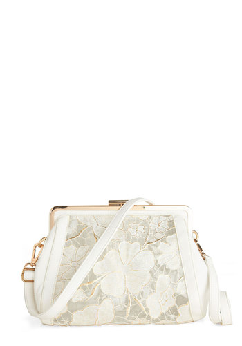 What a Day Bag - White, Floral, Lace, Vintage Inspired, Faux Leather