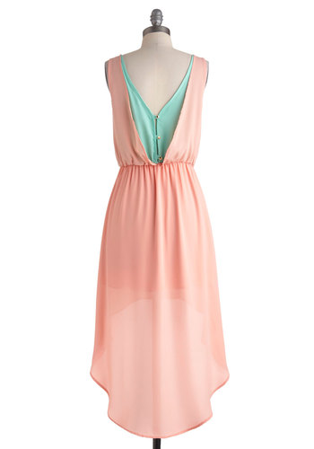 Cotton Candy Classy Dress - Chiffon, Sheer, Short, Pink, Blue, Solid, Buttons, High-Low Hem, Sleeveless, Scoop, Wedding, Party, Daytime Party, Pastel