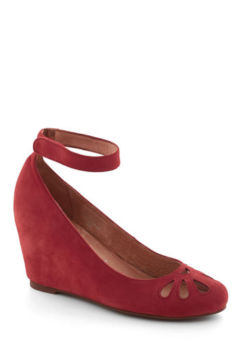 Metronome by Heart Wedge by Jeffrey Campbell - Red, Solid, Cutout, Wedge, Mid, Leather, Suede, Work, Scholastic/Collegiate