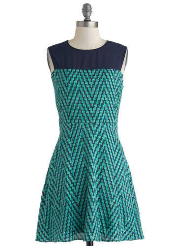 Up in the Airwaves Dress - Short, Chevron, Casual, A-line, Sleeveless, Crew, Green, Blue, Sheer