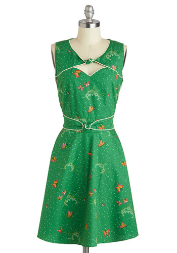Good Ol' Daisy Dress in Grass by Trollied Dolly - Green, Vintage Inspired, 70s, Mid-length, Cotton, Multi, Print with Animals, Cutout, Party, A-line, Sleeveless, Polka Dots