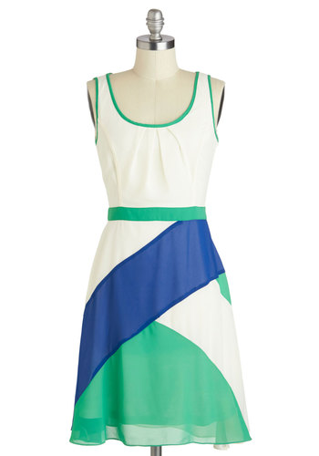 Awe Aboard Dress by Ryu - Mid-length, Green, Blue, Bows, Casual, A-line, Tank top (2 thick straps), Scoop, Summer, White