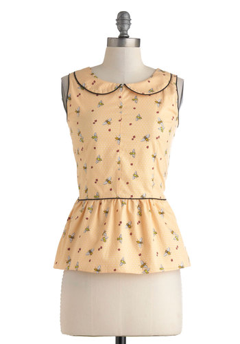 Honeycomb Along Top by Trollied Dolly - Mid-length, Cotton, Yellow, Print with Animals, Peter Pan Collar, Casual, Vintage Inspired, 50s, 60s, Pastel, Peplum, Sleeveless, Spring, Summer