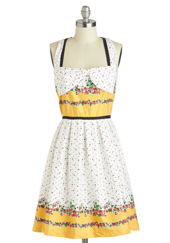 Dreamy Destination Dress in Strawberries by Trollied Dolly - Cotton, Mid-length, White, Multi, Novelty Print, Casual, Fruits, A-line, Sleeveless, Yellow, Bows, Vintage Inspired, 50s, Spring, Variation