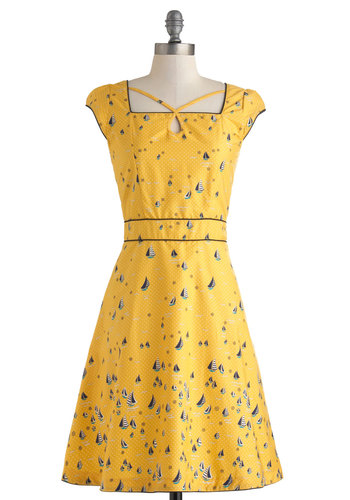 Seen in St. Augustine Dress by Trollied Dolly - Yellow, Nautical, Long, Cotton, Multi, Party, A-line, Cap Sleeves, Novelty Print, Cutout, Daytime Party, Vintage Inspired