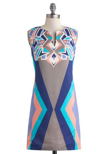 Acute Angles Dress by Corey Lynn Calter - Short, Multi, Blue, Purple, Pink, White, Print, Party, Sheath / Shift, Sleeveless, 60s, Luxe, Mod