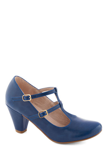 Fluent in Fabulous Heel in Blue by Chelsea Crew - Mid, Faux Leather, Blue, Solid, Party, Work, Vintage Inspired, 20s, Variation, 30s, Better, T-Strap, Folk Art