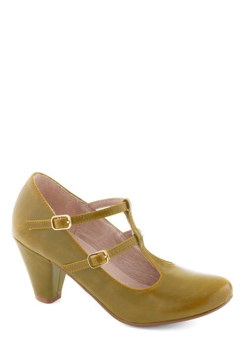 Fluent in Fabulous Heel in Yellow by Chelsea Crew - Mid, Faux Leather, Yellow, Solid, Party, Work, Vintage Inspired, 20s, 30s, Variation, T-Strap, Folk Art, Better