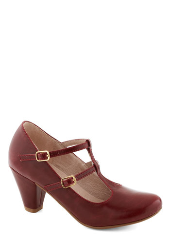 Fluent in Fabulous Heel in Red by Chelsea Crew - Mid, Faux Leather, Red, Solid, Party, Work, Vintage Inspired, 20s, 30s, Variation, Better, T-Strap, Folk Art, Top Rated