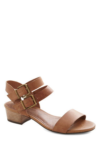 Above Parlance Sandal by Lucky - Tan, Solid, Buckles, Chunky heel, Low, Leather, Summer