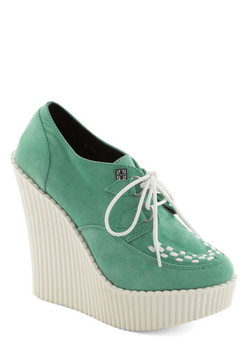 Cloud Hopper Wedge - Mint, White, Woven, Pastel, High, Platform, Wedge, Lace Up, Leather