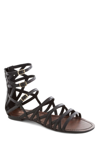 Carte Branch Sandal - Black, Solid, Urban, Flat, Faux Leather, Cutout, Summer, Strappy