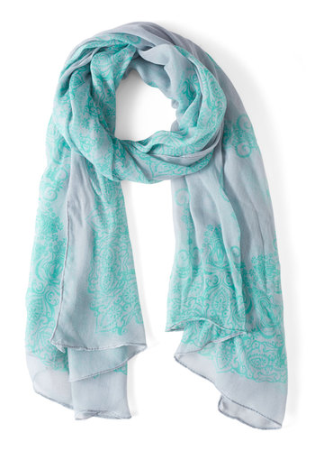 A Swirl of Enchantment Scarf - Grey, Print, Blue, Boho, Vintage Inspired, 70s