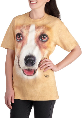 You Can Call Me Pal Top in Corgi - Cotton, Long, Jersey, Tan, Print with Animals, Casual, Quirky, Short Sleeves, Crew, Statement