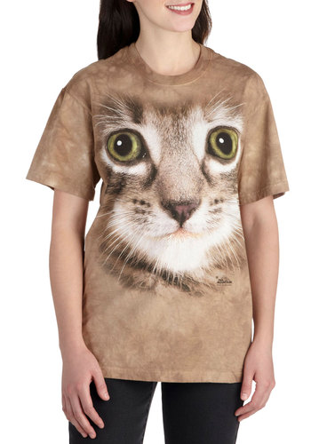 You Can Call Me Pal Top in Kitten - Cotton, Mid-length, Jersey, Brown, Print with Animals, Casual, Quirky, Short Sleeves, Crew, Cats, Statement
