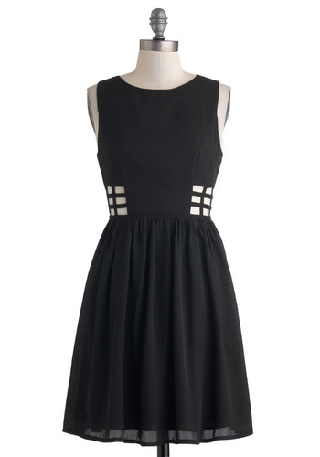 Artful Details Dress - Mid-length, Black, Solid, Cutout, Casual, A-line, Sleeveless, Party, LBD