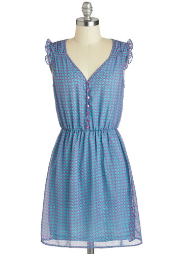Art Class Assistant Dress - Short, Purple, Chevron, Buttons, Ruffles, Casual, A-line, Sleeveless, Blue, Summer