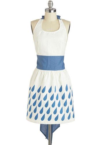 Goodie, Goodie, Raindrops Apron - White, Blue, Print