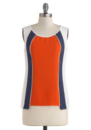Mach This Way Top - Multi, Red, Orange, Blue, White, Casual, Sleeveless, Mid-length, Mod