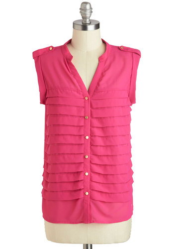 Interior Inspiration Top - Mid-length, Sheer, Pink, Buttons, Work, Casual, Sleeveless, Spring