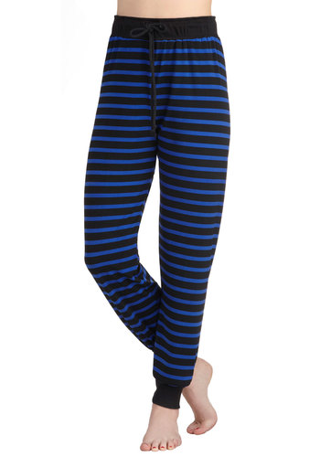 Hip-Hop to It Pants - Blue, Black, Stripes, Casual, Travel, High Waist