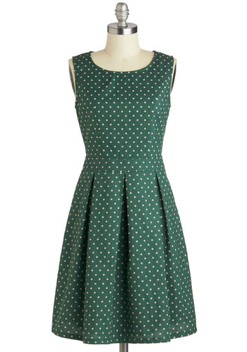 Emerald Chic Dress - Cotton, Green, Tan / Cream, Polka Dots, Pleats, Pockets, A-line, Sleeveless, Scoop, Work, Daytime Party, Vintage Inspired, 50s, 60s, Mid-length