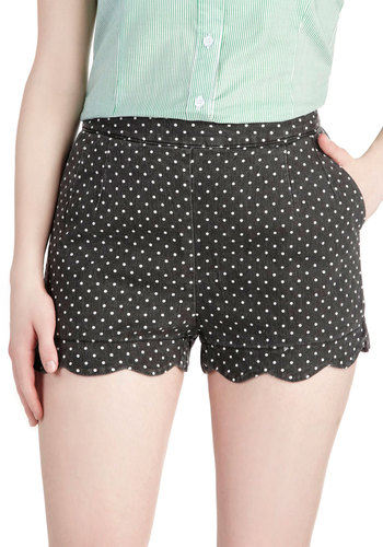 Darling Day Away Shorts in Black Dots - Black, Polka Dots, Scallops, Pinup, Vintage Inspired, Pockets, 50s, Summer, High Waist, Mid-Rise, Black, Non-Denim, Short
