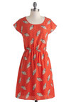 You Cone Do It Dress - Mid-length, Orange, Multi, Novelty Print, Casual, A-line, Short Sleeves, Scoop, Quirky, Summer