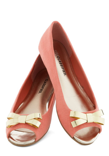 Anything You Tweed Flat - Coral, Gold, Bows, Flat, Peep Toe, Luxe, Daytime Party, Spring
