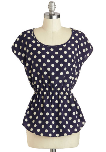 Working for the Weekdays Top - Blue, Polka Dots, Peplum, White, Casual, Daytime Party, Cap Sleeves, Scoop, Mid-length, Work, Blue, Short Sleeve