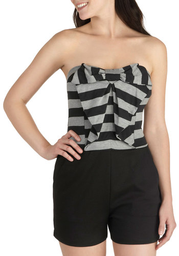 Licorice Kick Romper - Black, Grey, Stripes, Bows, Pockets, Long, Party, Casual, Film Noir, Twofer, Strapless, Summer, Sweetheart