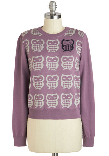 Odd One Owl Sweater - Short, Purple, Print with Animals, Casual, Owls, Quirky, Fall