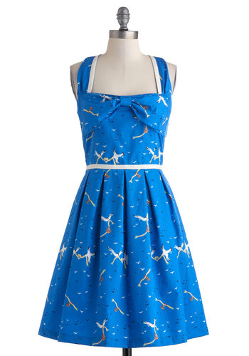 Dreamy Destination Dress in Seagulls by Trollied Dolly - Mid-length, Cotton, Blue, Multi, Animal Print, Bows, Pleats, Casual, A-line, Sleeveless, Beach/Resort, Summer