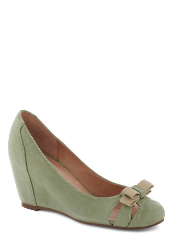 Cruising Altitude Wedge in Mint by Jeffrey Campbell - Mint, Tan / Cream, Solid, Bows, Wedge, Mid, Leather, Cutout, Work, Suede, Variation
