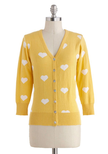 Warmhearted Welcome Cardigan in Yellow - Yellow, White, Novelty Print, Buttons, Casual, 3/4 Sleeve, Cotton, V Neck, Mid-length, Spring, Winter