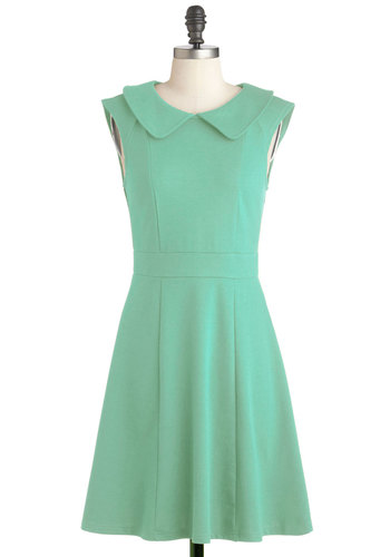 Foxtail & Fern Dress in Leaf - Cotton, Mid-length, Solid, Exposed zipper, Peter Pan Collar, Casual, A-line, Collared, Green, Vintage Inspired, 60s, Mod, Cap Sleeves, Variation, Pastel