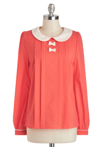 The Coral of the Story Top - Mid-length, Coral, White, Solid, Bows, Peter Pan Collar, Work, Vintage Inspired, Long Sleeve, Collared, 60s