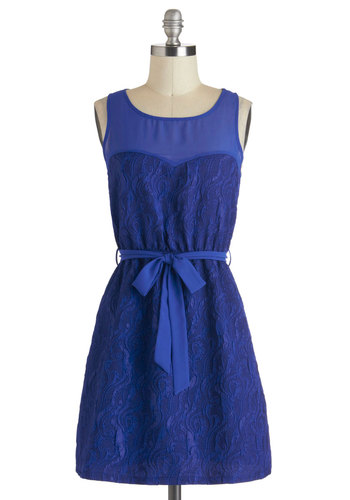 The Current Time Dress - Short, Blue, Solid, Lace, Belted, Party, A-line, Sleeveless, Daytime Party, Sheer