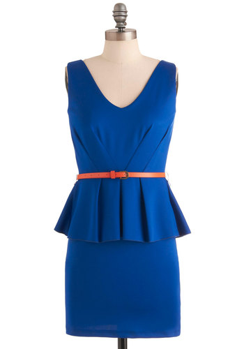 Royal Ways by Your Side Dress - Short, Blue, Solid, Pleats, Work, Vintage Inspired, Sheath / Shift, Sleeveless, Belted, Peplum, V Neck, Pinup