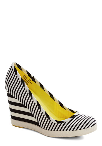 Alright With Me Wedge in Stripes by Seychelles - Stripes, Mid, Wedge, Nautical, Summer, White, Black