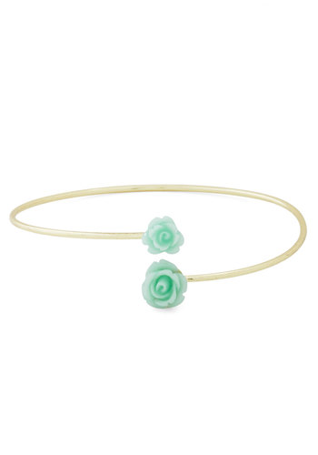 Retro Rosie Solitaire Bracelet in Mint - Mint, Gold, Flower, Pastel, Solid, Gold, Valentine's