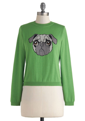 Pug Shot Sweater - Print with Animals, Short, Green, Grey, Bows, Knitted, Tie Neck, Casual, Long Sleeve, Fall