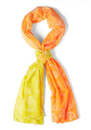 Peace Haute Scarf by Ruby Rocks - International Designer, Sheer, Orange, Yellow, Novelty Print, Boho, Vintage Inspired, 70s, Travel