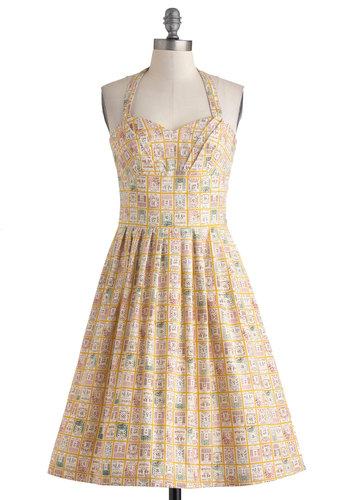 Object of My Collection Dress by Myrtlewood - Yellow, Multi, Print, Pockets, Casual, A-line, Halter, Sweetheart, Vintage Inspired, 50s, Summer, Cotton, Long, Pleats, Exclusives, Private Label, Press Placement, Top Rated