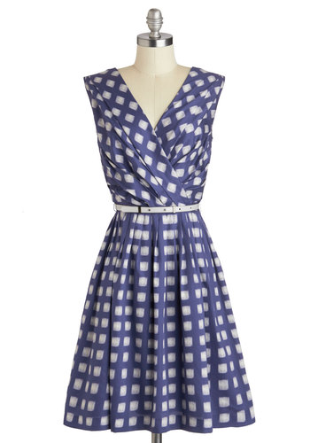 Kiss and Trellis Dress in Garden Gate - Blue, Print, Pockets, Belted, Party, A-line, Sleeveless, V Neck, Wedding, Summer, Cotton, Long, Grey, Checkered / Gingham, Pleats